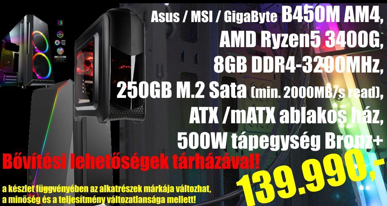 Komplett konfiguráció - ARMACOMP AMD Ryzen 3400G, 8GB, 250GB m.2 sata